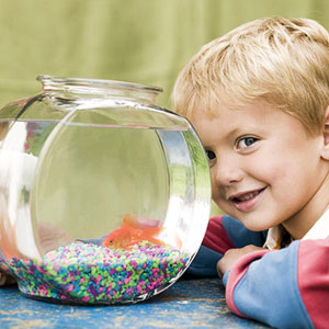 boy with his pet goldfish