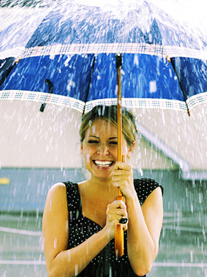 woman holding umbrella in the rain