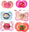 Pacifiers Decorated with Crystals photo