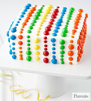 M&M topped square cake