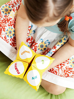 Cootie Catcher invite with little girl
