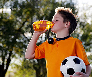soccer player drinking water