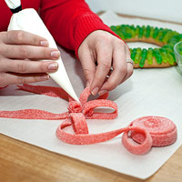 Creating wreath ribbon out of fruit tape candy