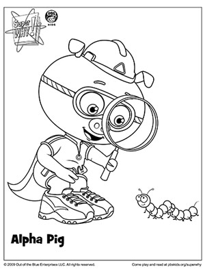 Why super colouring pages for Super why coloring pages printable