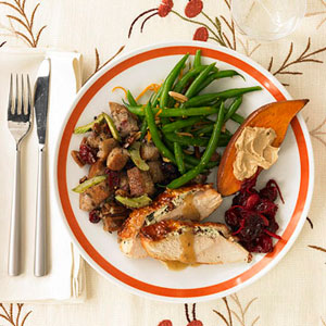 Plate of Thanksgiving food