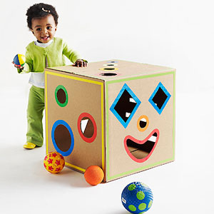 Cardboard Box Shape Sorter by Jocelyn Worrall, Parents Magazine