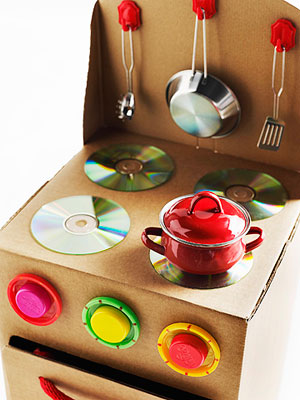 Cardboard Box Kitchen Stove by Jocelyn Worrall, Parents Magazine