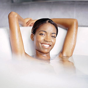 woman taking a relaxing bath