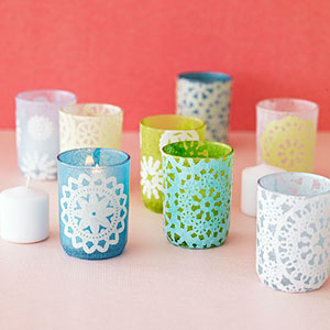 Glass doily votive candle holder craft