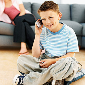 child talking on phone