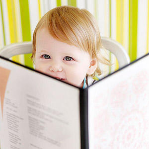 baby looking at menu