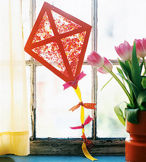 Stained glass paper kite craft for Kite craft for kids