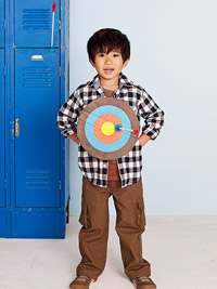 Child with bullseye on chest