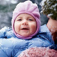 baby outside in winter