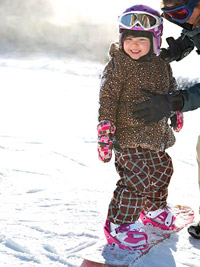 Girl snowboarding