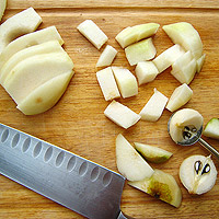 chopping pears