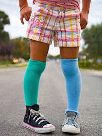 young girl wearing colorful socks