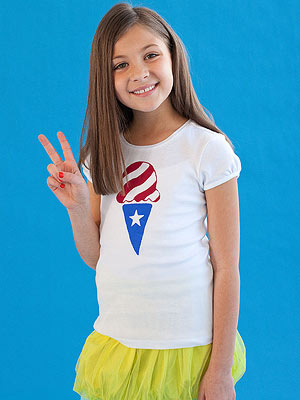 girl wearing screenprinted shirt