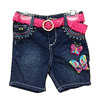 Franshaw Pink Angel Embroidered Girls' Denim Shorts photo