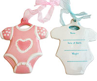 Boy and girl baby ornaments