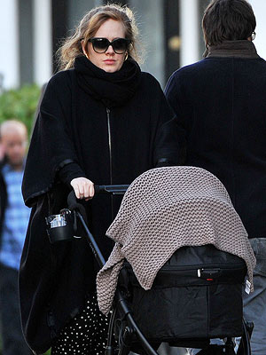 Adele Adkins with new baby
