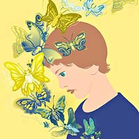 Child illustration with butterflies