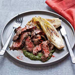see savings for - grilled skirt steak with salsa verde