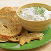 bagel chips with cucumber yogurt dip