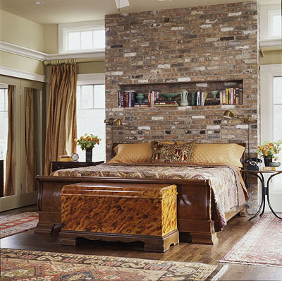 bedroom - exposed brick wall