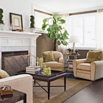 a stylish living room with a white-mantel fireplace and dark brown floors