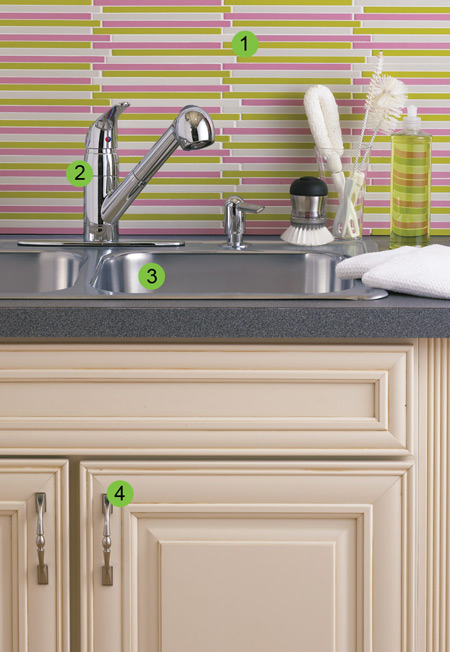 kitchen sink makeover with pretty pink tile backsplash and chrome faucet