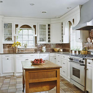 Country White Kitchen Islands
