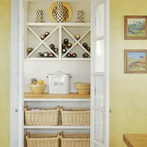 Kitchen cupboard with wine storage space