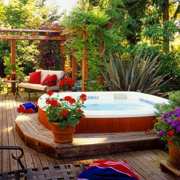 Free home plans deck hot tub building plans for Spa deck design