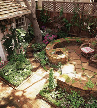 spiraling stone patio wall