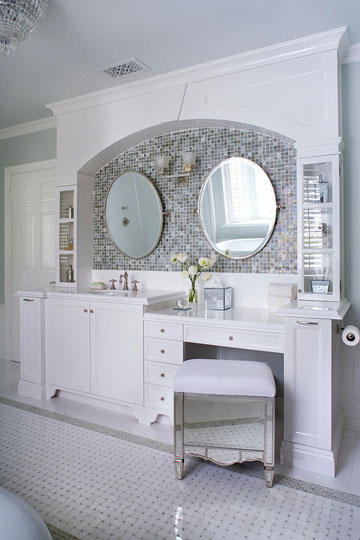 bathroom vanity with tile backsplash