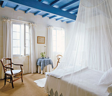 Restored farmhouse in provence inspiring interiors - Painting wood beams on ceiling ...