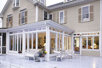 sunroom exterior and patio