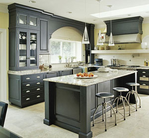 marble countertops and stainless steel appliances beautiful - Black Kitchen Cabinets Pictures