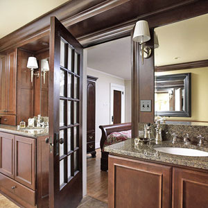 dark wood bathroom vanity