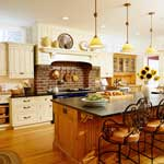 Vintage brick-hearth kitchen