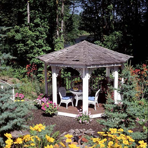 Gazebo with ornamental iron brackets