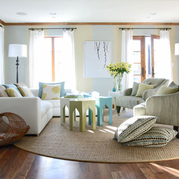 arrangement for smaller sized living rooms consists of a sofa plus two