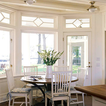 Bay Windows With Transoms. This Sunny Breakfast Area, Set In A Bay, Takes  Advantage Of The Sweeping Ocean View. The Windows Are Topped With Transoms  That ...