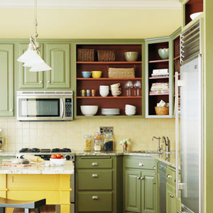 Open shelving on wall instead of uppers for Off the shelf kitchen units