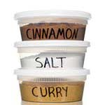 cinnamon, salt, curry containers