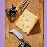 cheese, knives, cutting board
