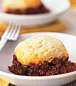 Biscuit on top of Meat Dish