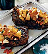 steak with corn chutney