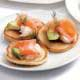 salmon and avocado blinis